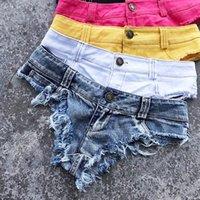 Pantalones cortos de mezclilla para mujer 2021 primavera verano micro mini corto sexy tanga femme jean con cintura baja noche club blanco negro