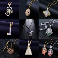 Pendant Necklaces 14 Styles Hip Hop Gold Color Axe Animal Scorpion Necklace Rope Chain Bling Cubic Zircon Cool Men's Rock Biker Jewelry
