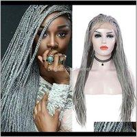 Perruques Aimeya Sier gris Boîte tressée Dentelle Dentelle pour femmes noires avec bébé cheveux résistant à la chaleur Synthetic Long Micro Braids Wig Uowfe ux4og