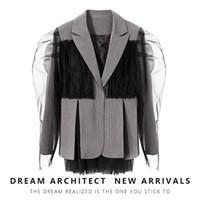Women's Suits & Blazers SuperAen Fashion Mesh Patchwork Small Suit 2021 Autumn Design Contrast Color Split Jacket Female Coat