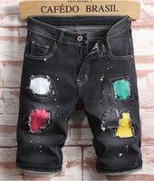 Männer Designer Ripped Jeans Abzeichen Aufkleber Blau Denim Shorts Herren Sommer Dehnbarer Slim Fit Distressed Casual Retro Große Größe WASSE MOTO LOCH BIKER HOSE 1810