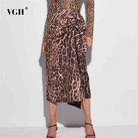 Печатный леопард женская сексуальная юбка с высокой талией сплит разделить ruched асимметричный MIDI юбки женские одежды стиль моды 210531