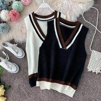 Lady College Style Стес Полосатый Жилет без рукавов Женщины Осень Зимняя Свободная Повседневная Женская Мода Пуловер V-образным вырезом Топы 20201
