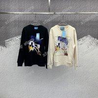 21SS Designers Sweathers Mens de Luxo Mulheres Flash Pato Letras Homem Paris Moda Tee Tee Tees Tees Rua Manga Longa Luxurys Black White Xinxin