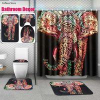 Colorful Elephant Bathroom Non-slip Mat Set Durable Waterproof Shower Curtain Pedestal Rug Lid Toilet Cover Bath Rugs Curtains