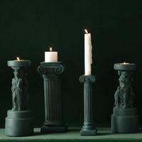 Kerzenhalter Home Decoration Innenzubehör Retro Halter Römische Säule auf dem Tisch Hohe dünne Dose