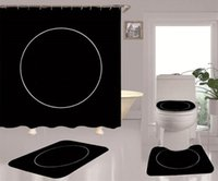4 pcs / set impressão simples cortinas de chuveiro de cor sólida conjuntos hipster de alto grau de quatro peças terno banheiro antiderrapante desodorizante desodorizante de banheiro
