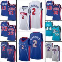 "2021 Draft 2 Cade Cunningham Jersey Grant 33 Hill Dennis 10 Rodman Isiah 11 Thomas Jerseys Detroit ""Pistão"" Basquete"