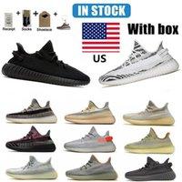 창고 미국 2021 얼룩말 러닝 신발 콘크리트 꼬리 가벼운 검은 반사 정적 크림 화이트 남자 여성 스포츠 신발 크기 36-46 절반 상자