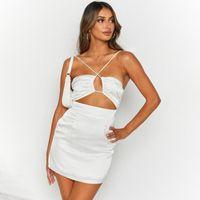 Womens Sexy Club streetwear kilt silk designer backless party dress Evening Gowns halter Short skirt Summer Hollow Clothing dresses for woman Casual Split crop top