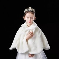 Wraps & Jackets Flower Girls Thicken Plush Bolero Shrug Princess White Faux Fur Coat Shoulder Cape Wedding Dress Shawl Stole Bowknot