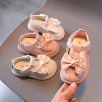 First Walkers 2021 Girl Princess Single Shoes Autumn Baby Soft Sole Leather Bow-knot Cute Sweet Hollow Breathable Non-slip Infants