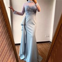 Crystal ruffles Real Image Mermaid Mother of the Bride Dress High Neck long Sleeve satin Formal Evening Party Gowns