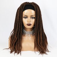 Synthetic Wigs M&H 20 Inch Long Hair Brwon Color Crochet Braided Headband Wig Natural Box Braids For Black Women