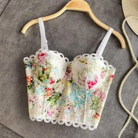 Women's Tanks & Camis 2021 Summer Printed Lace Tube Top Camisole Women 3D Cup Beach Outerwear Sexy Bra Bodice Short Embroidery Suspender Ves