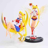 Yutong Karikatür Anime Sailor Moon Tsukino Action Figure Wings Oyuncak Bebek Kek Dekorasyon Koleksiyonu Model Kızlar Hediye Oyuncak Çocuklar için