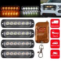 4 adet LED Araba Strobe Uyarı Işığı Izgara Yanıp Sönen Arıza Acil Işık Araba Kamyon Römork Beacon Lambası Arabalar için LED Yan Işık