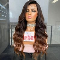 Lace Wigs 200% Density Brown Ombre Wavy 360 Front Wig For Women Brazilian Remy Human Hair Preplucked Glueless Babyhair Hairline