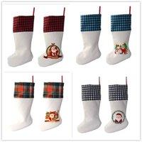 US STOCK NOËL Décorations de Noël Stockage Linge Blanc Candy Chaussettes Santa Claus Sac cadeau de Noël Arbre de Noël Festival Festival pour enfant