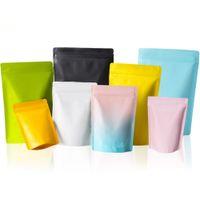 50 teile / los aufstehen Matte Aluminiumfolie Reißverschluss Selbstdichtung Träne Notch Verpackung Recyclable Reißverschluss Kaffee-Süßigkeiten Aufbewahrungstasche
