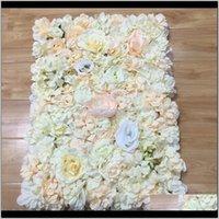 Dekoratif Çiçekler Çelenk Halı Tipi Ortanca DIY Düğün Ayarı Duvar Yol LED Çiçek T Sahne Dekorasyon Po Arka Plan Mor NMT3 CNBWD