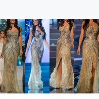 Miss Universo 2020 New Zuhair Murad Arabic Evening Gowns Mermaid Gold side slit Crystal Beaded Lace Tulle Prom Celebrity Dresses Vestido 265