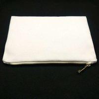 7x10in blanc blanc de maquillage en toile de poly de 12 oz pour sublimation Imprimer 12ozthick Cosmétique avec transfert de chaleur zippé métallique 91TS