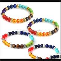 Charm Jewelrykimter Natural Stone Bracelets For Men Women Yoga Beads Bangle 7 Chakra Tiger Eye Beaded Elastic Bracelet Jewelry B366S F Drop D