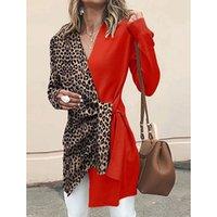 Women's Suits 2021 Autumn Winter Temperament V-neck Leopard Print Color Suit Personalized Jacket L480 & Blazers