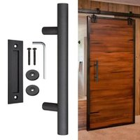 "12"" Sliding Barn Door Handle Heavy Duty Pull And Flush Hardware Set Recessed Adapter Thickness 35MM-45MM Bath Accessory"
