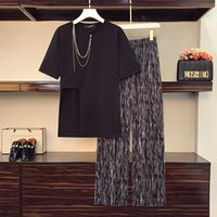 Plus Size Tracksuits Women's Two Piece Set Casual Outfits Fashion Short Sleeve Chain Cotton T-Shirt + Elasticity Waist Loose Long Pant Trous