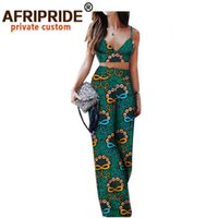 Africano 2 peça set para mulheres sem mangas colheita superior e ankara calças Dashiki roupas impressa sexy partido desgaste afriprida a1826009 210409