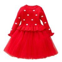 Vestidos de niña Otoño Invierno 2021 Baby Girls Ropa Childern suéter Princess Vestido Chica Chica Christmas Party 2 3 4 5 6 7 8 9T ROJO