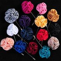 Blume Ball Brosche Revers Pins Handgemachte Boutonniere Stick mit künstlicher Seidenblume für Gentleman Anzug Verschleiß Männer Zubehör 1131 T2