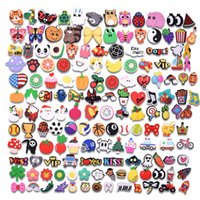 100PCS Mix Cartoon Shoes Charms Silicone Soft Animal Cat Rabbit Hole Slipper Accessories For Kids Gifts Croc