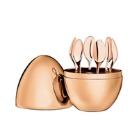 Muebles para el hogar Trendy Christofle París Estado de ánimo Conjunto de café Kit de cuchara de café Sistemas de cucharas de té de huevo de acero inoxidable