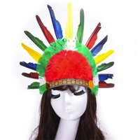 Halloween Props Adult Feather Hoofdtooi Hoofdband Chieftain Color Black-and-White Red Indian Hat
