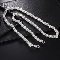 925 Sterling Silver 16/18/20/22/24 pouce 4mm Collier de chaîne de corde torsadée pour femme homme mannequiner mariage charme bijoux 236 W2