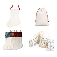 Sublimation Blank Santa Sack Red Drawstring Bag Christmas Gift Bags Pocket Heat Transfer Linen Cotton Xmas Decoration Sock Personalize