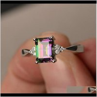 Solitaire Exquisite Womens 925 Sterling Sier Ring Princess Cut Mystic Rainbow Topaz Engagement Diamond Jewelry Fast Dappw Vrgmf