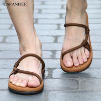CARANFIER Sandals Men Sandalias Hombre Gladiator for Male Summer Roman Beach Shoes Flip Flops Slip Flats Slippers Slides 210707