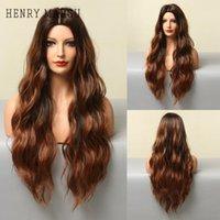 Sentetik Peruk Henry Margu Uzun Dalgalı Kırmızı Kahverengi Siyah Ombre Dalga Doğal Saç Peruk Cosplay Kadınlar için Isıya Dayanıklı Günlük