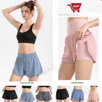 Mode lu lose yoga outfit shorts schnelle damen trocken gym sport kurze sommerkleider tragen massiv farbe sport elastische fitness strumpfhosen leggings
