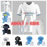 Kits para adultos y niños 2021 Manchester Soccer Jersey 20 21 22 G. Jesús City Sterling Ferran de Bruyne Kun Agüero Camisetas de fútbol de Agüero Uniforme de hombre