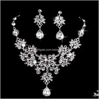 & Sets Drop Delivery 2021 Fancy Bridal Factory Directly Sale High End Necklace And Earrings Women Jewelry Set Xfgdu