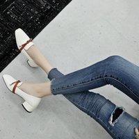Dress Shoes YMECHIC 2021 Autumn Slip On Knot Daily Casual Block Heels Ladies High Heel Black Beige Square Toe Women Pumps Big Size 43