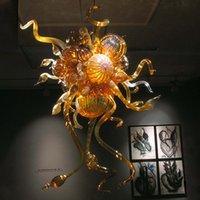Italien entworfene Lampen Antike Bernsteinfarbe Hand Geblasenes Glas Kronleuchter Licht Moderne LED Custom Bubble Kronleuchter für Wohnkultur 20 x 32 Zoll