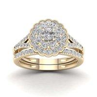 Anelli Natural Bianco 2,5 CTS Gioielli Diamante 14K oro per le donne Forma del fiore Vintage Bizuteria Gemstone Matrimonio Anillos de Ring 1346 Q2