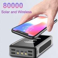 80000mAh draadloze zonne-energie bank draagbare telefoon snel opladen externe oplader back-upbatterij Powerbank 4 USB LED-verlichting voor Xiaomi iPhone met doos