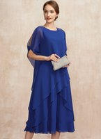 Elegant Royal Blue Scoop Tea-Length Chiffon Mother of the Bride Dress With Beading Ruffles Bridal Party Gown Robe De Soiree Vestidos